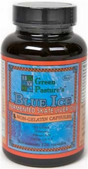 Green Pasture's Blue Ice Fermented Skate Liver Oil, 120 Capsules